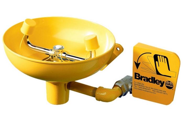 Bradley Eyewash Unit Plumbed In Wall Mount