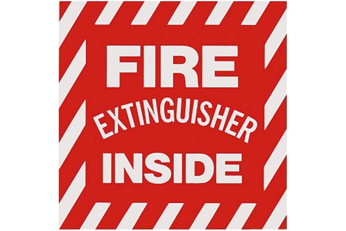 "Abc Fire Extinguisher >> FIRE EXTINGUISHER INSIDE SIGN - 4"" X 4"""